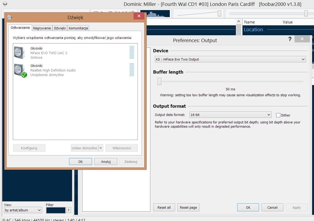 m2tech hiface evo two young dac ustawienia konfiguracja windows foobar